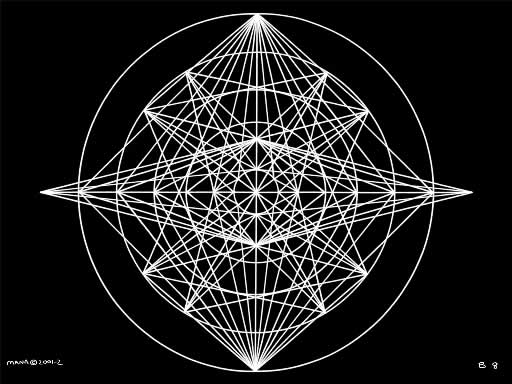 B8 Sacred Form Series B–Ascending Light Body White on Black