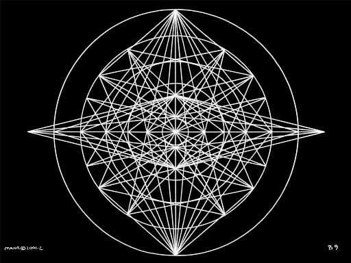 B9 Sacred Form Series B–Ascending Light Body White on Black