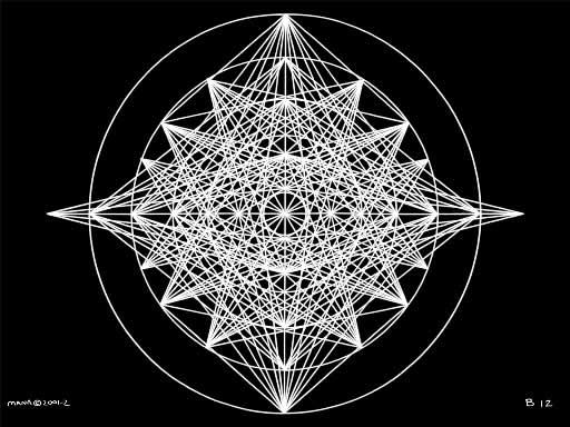 B12 Sacred Form Series B–Ascending Light Body White on Black