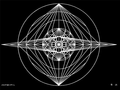 B13 Sacred Form Series B–Ascending Light Body White on Black