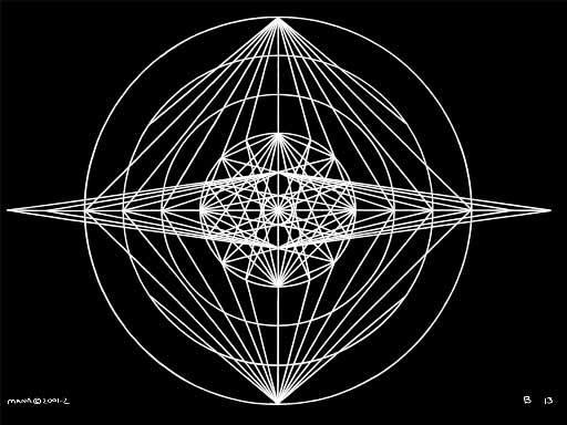 B13 Sacred Form Series B–Ascending Light Body White on Black