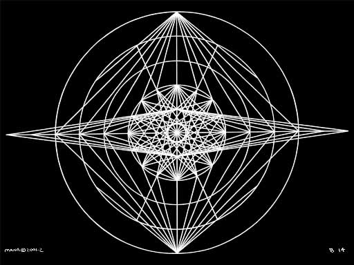 B14 Sacred Form Series B–Ascending Light Body White on Black