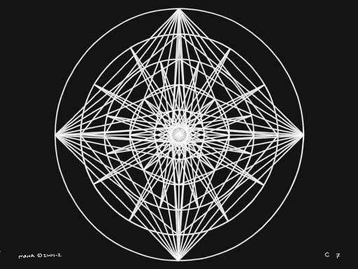 C7 Sacred Forms Series C–Cosmic Heart White on Black