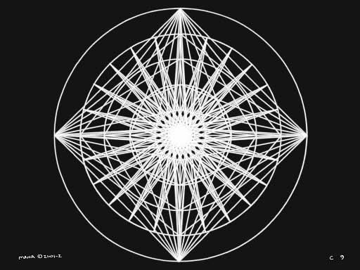 C9 Sacred Forms Series C–Cosmic Heart White on Black