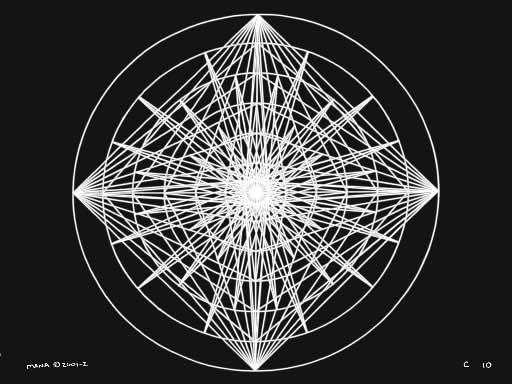 C10 Sacred Forms Series C–Cosmic Heart White on Black