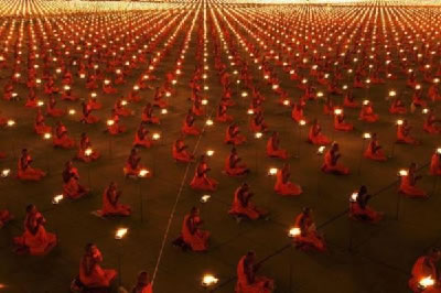 Thousand Monks with Candles Praying