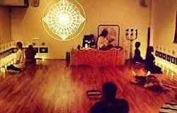 Meditation in a room set up with Sacred Forms for Transmission