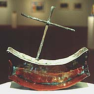 Glass Sculpture boat with mast