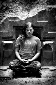 Mana seated meditating (black and white image)