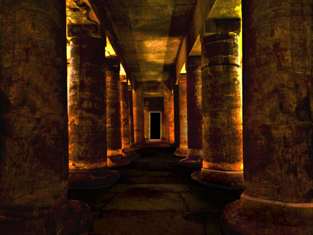 columns lite at night in sacred Egypt temple
